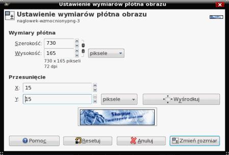 Wymiary płótna w GIMP