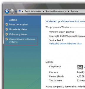 Włączanie zaawansowanych ustawień systemu Vista
