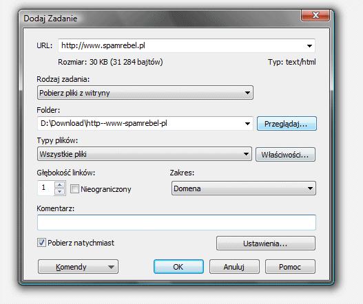 DownloadStudio - nowe zadanie pobierania witryny