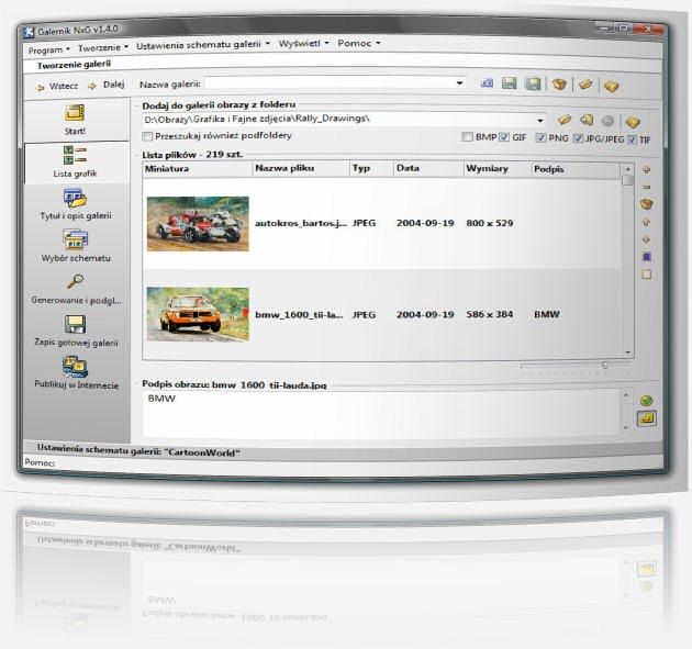 Galernik - program do tworzenia galerii zdjęć - Zmieniona lista plików przeznaczonych do galerii. Teraz minaiturka pokazywana jest bezpośrednio na liście i można skalować jej wielkość za pomocą suwaka umieszczonego ponizej listy.