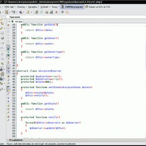 Nawigator dokumentu w głównym oknie Pajączka na Debian Linux