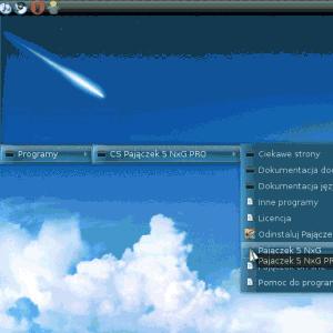 Menu Pajączka w systemie Debian Linux
