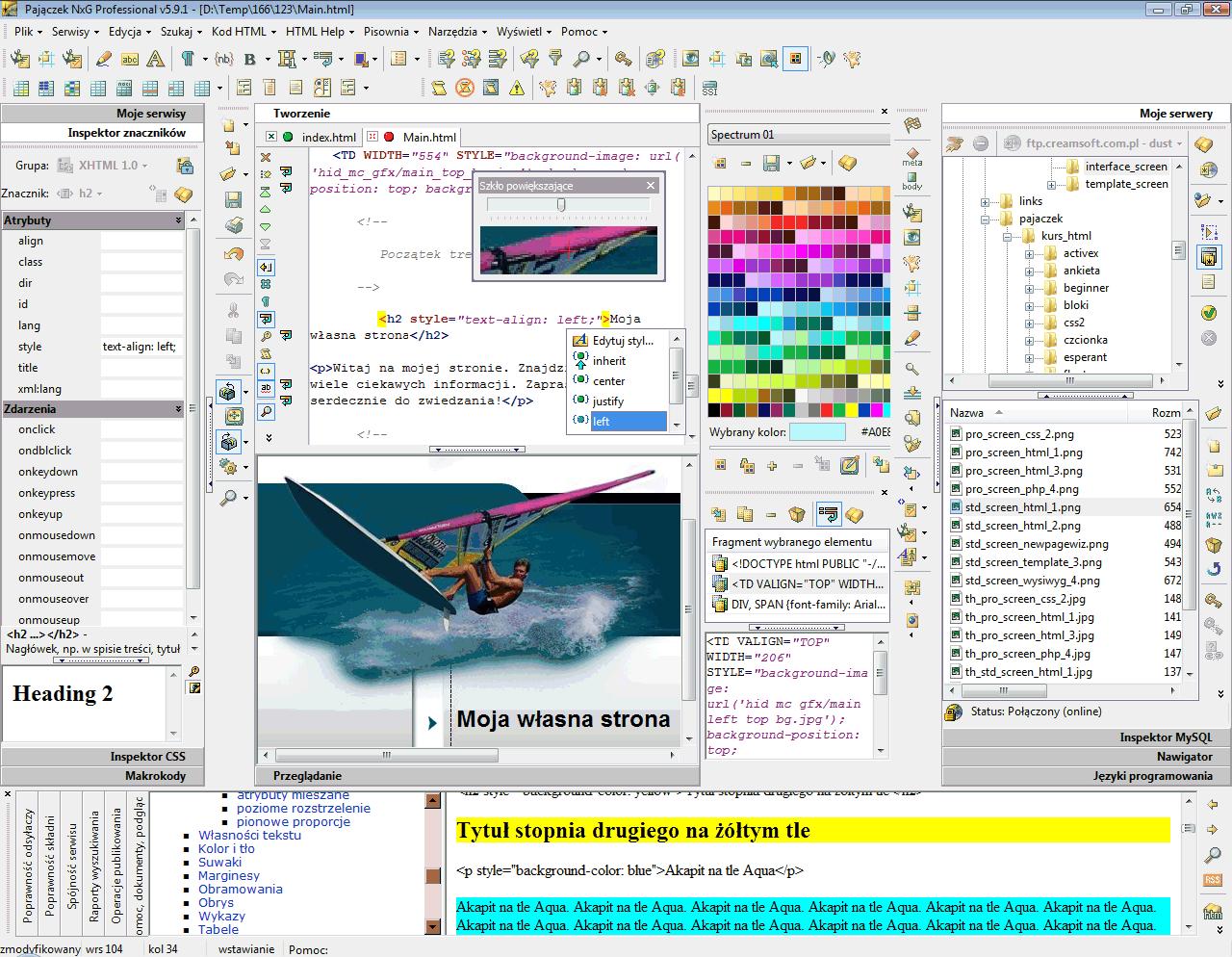 Główne okno programu z widokiem pomocy, edycji z podpowiedziami stylów, inspektora znaczników, połączenia FTP, szkła powiększającego, wieloschowka, palety kolorów.