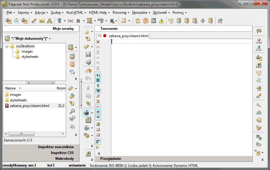Struktura katalogów i plik startowy dla przycisków CSS3 w Pajączku