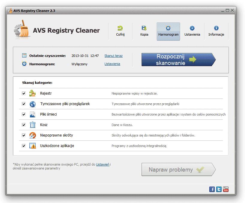 AVS Registry Cleaner - Przed skanowaniem