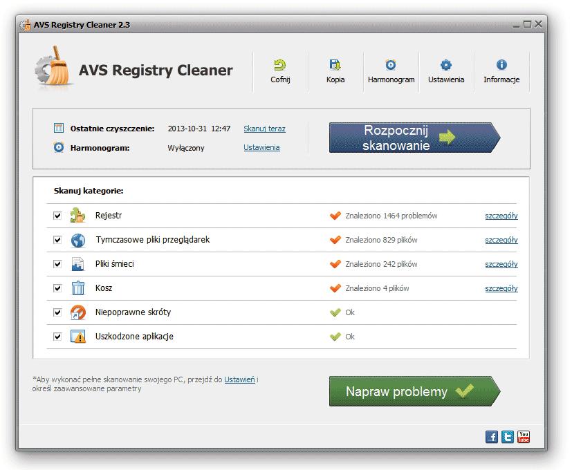 AVS Registry Cleaner - Po wyczyszceniu