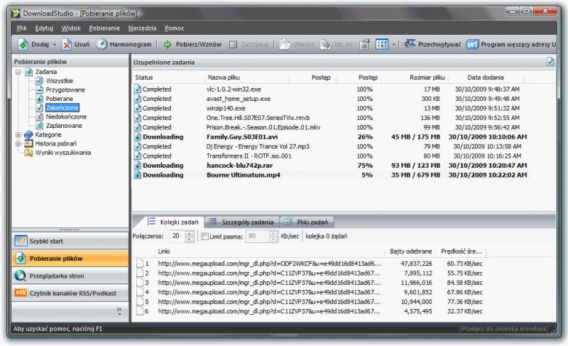 Download Studio - główne okno