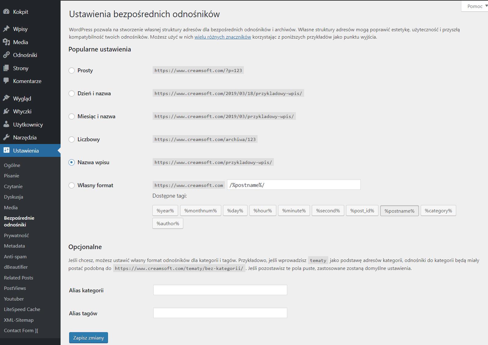 Ustawienia bezpośrednich odnośników w WordPress