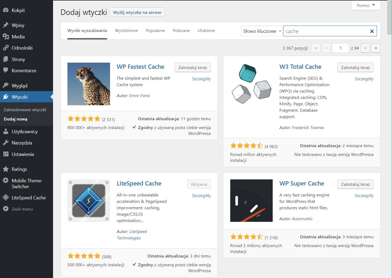 Wtyczki cache do WordPress - optymalizacja szybkości